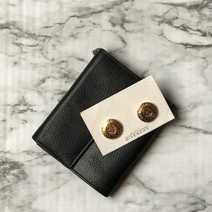 Vintage GIVENCHY  Gold Logo Medallion Earrings